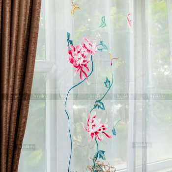 Rèm vải 2 lớp cao cấp - Voan thêu hoa cúc đại đóa 12