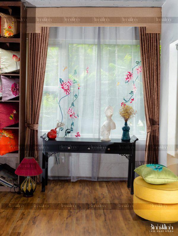 Rèm vải 2 lớp cao cấp - Voan thêu hoa cúc đại đóa 10