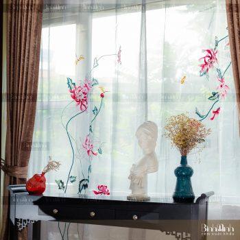 Rèm vải 2 lớp cao cấp - Voan thêu hoa cúc đại đóa 7