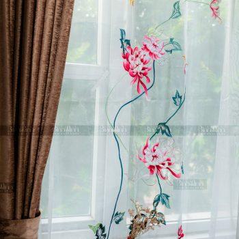 Rèm vải 2 lớp cao cấp - Voan thêu hoa cúc đại đóa 6