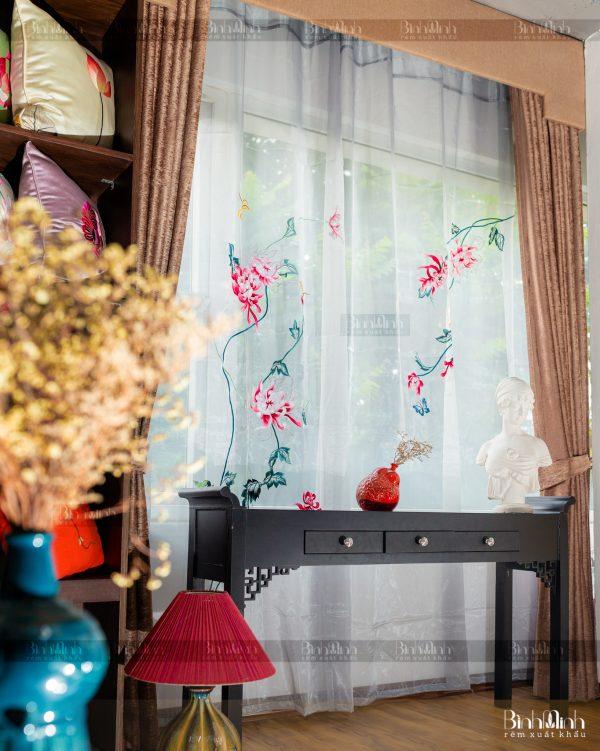 Rèm vải 2 lớp cao cấp - Voan thêu hoa cúc đại đóa 3