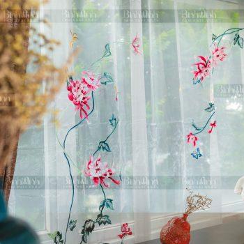 Rèm vải 2 lớp cao cấp - Voan thêu hoa cúc đại đóa 2
