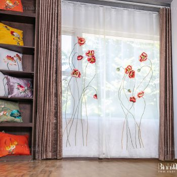 Rèm thêu hoa anh túc - Rèm xuất khẩu Bình Minh