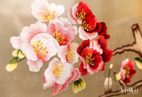 Tranh thêu hoa đào - Tranh cao cấp