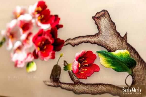 Tranh thêu hoa đào - Tranh thêu cao cấp
