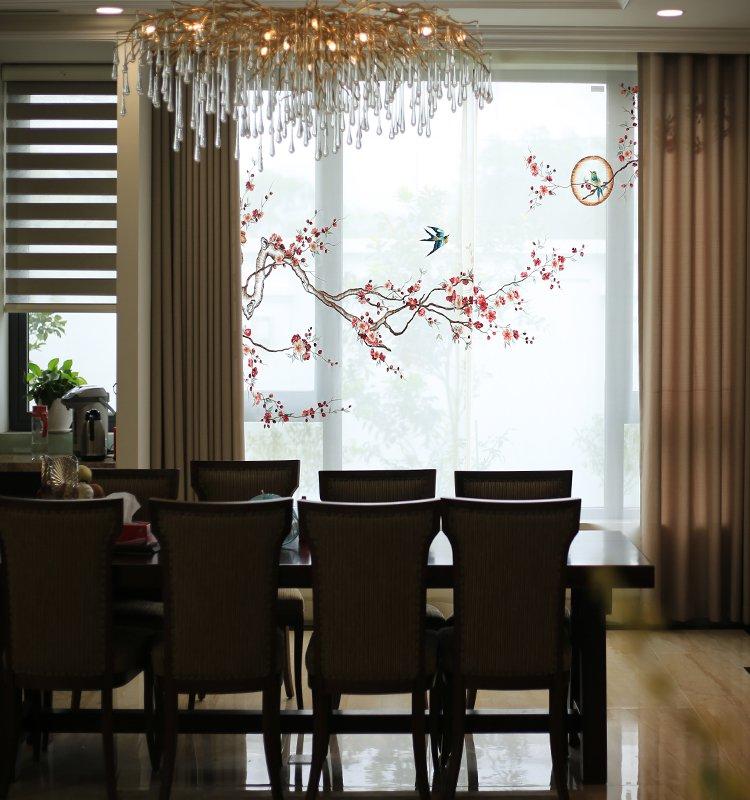 Mẫu rèm thêu tay cao cấp: Hoa đào
