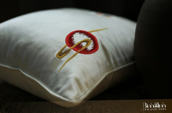 Gối thêu hoa mẫu đơn - Gối sofa cao cấp