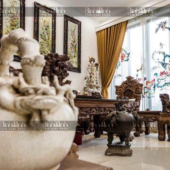 Rèm biệt thự Ciputra thêu hoa sen - Rèm xuất khẩu Bình Minh