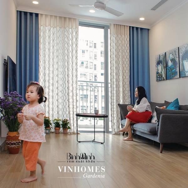 Rèm vải 2 lớp phòng khách căn hộ Vinhomes