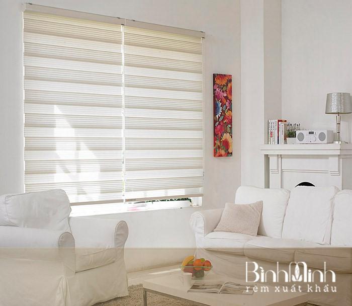 Phòng khách đẹp, hiện đại với mẫu rèm cầu vồng