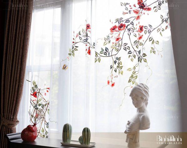 Mẫu rèm thêu hoa đăng tiêu