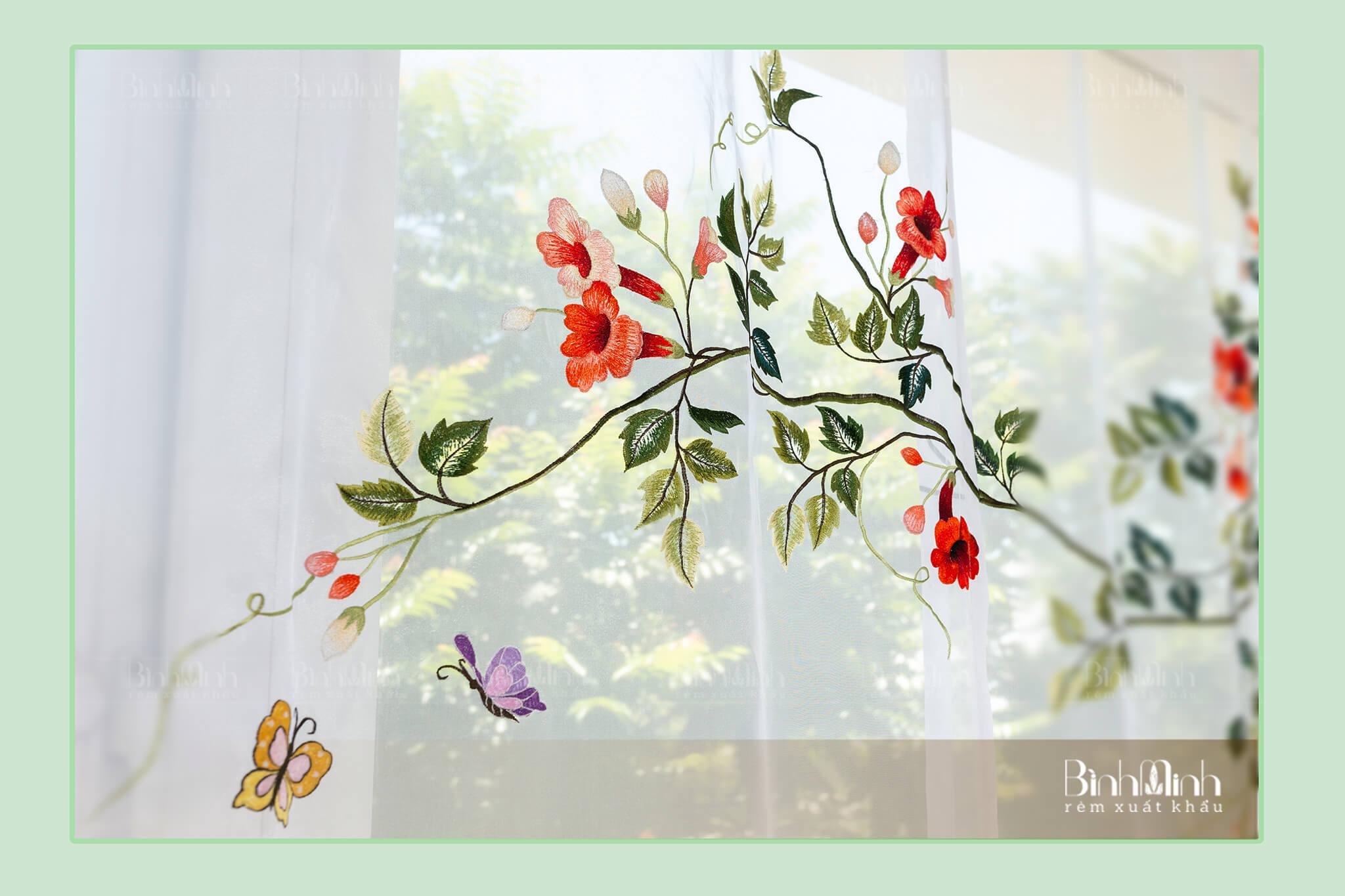 Rèm cửa 2 lớp đẹp thêu hoa đẹp