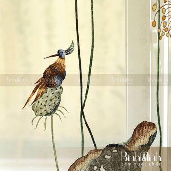 Mẫu rèm thêu hoa sen cao cấp: Sen rủ