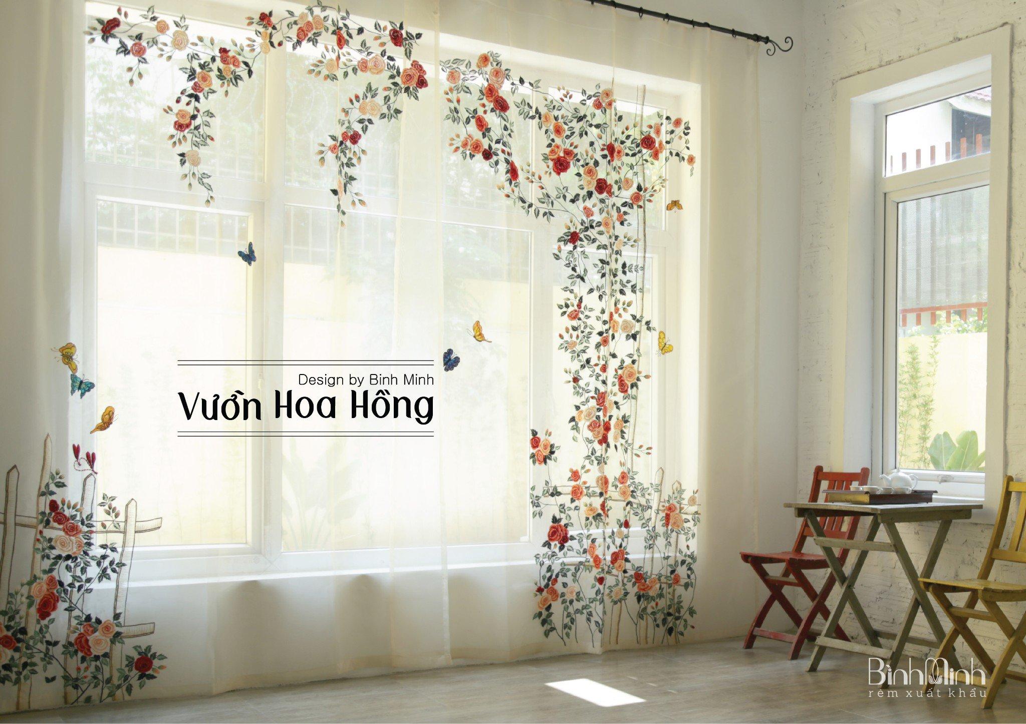 Rèm cửa đẹp - Mẫu rèm thêu tay: Vườn hoa hồng