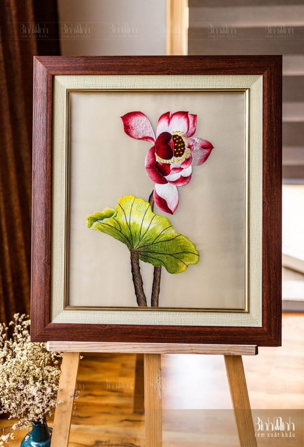 Tranh thêu hoa sen - Tranh thêu Bình Minh