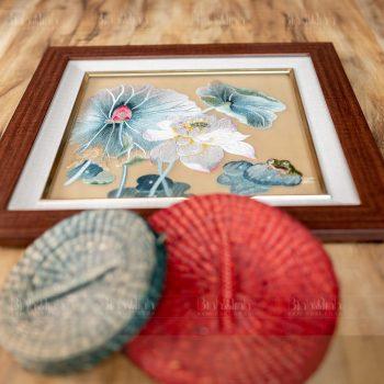 Tranh thêu sen nghệ thuật - Tranh thêu cao cấp Bình Minh
