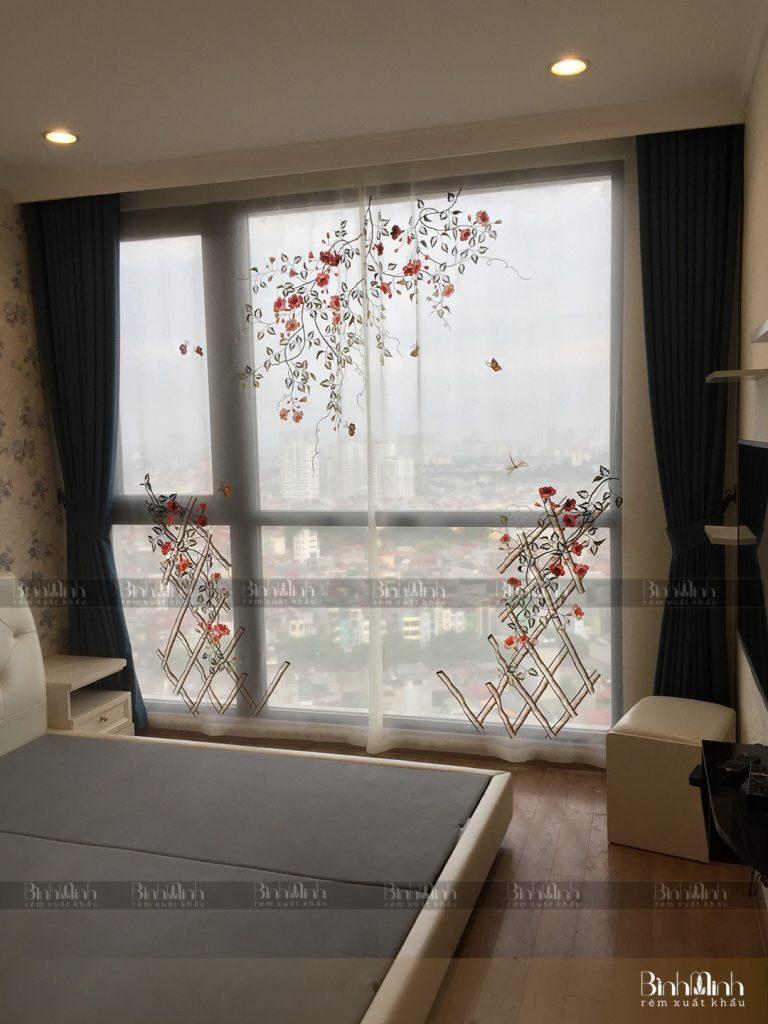 Rèm phòng ngủ thêu hoa đăng tiêu