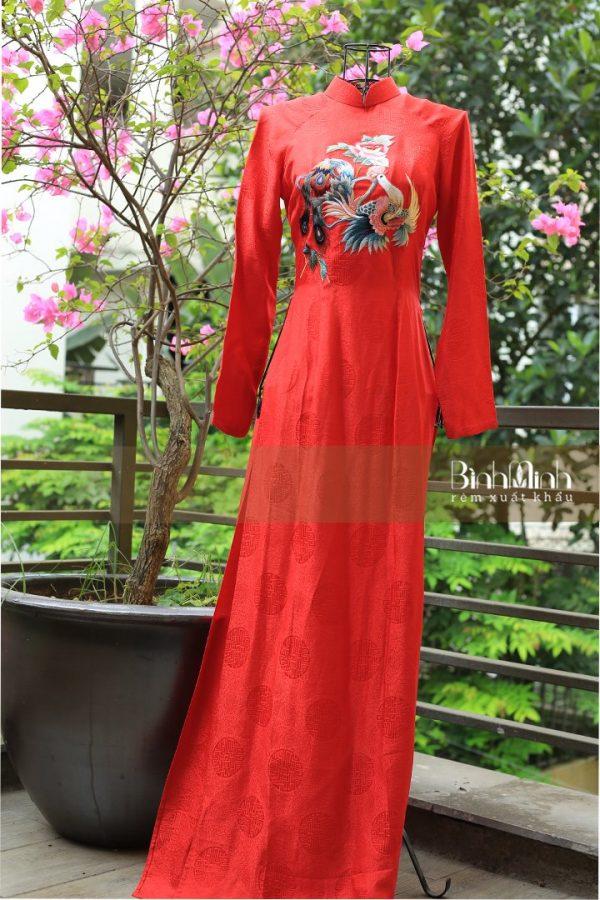 Áo dài thêu họa tiết truyền thống