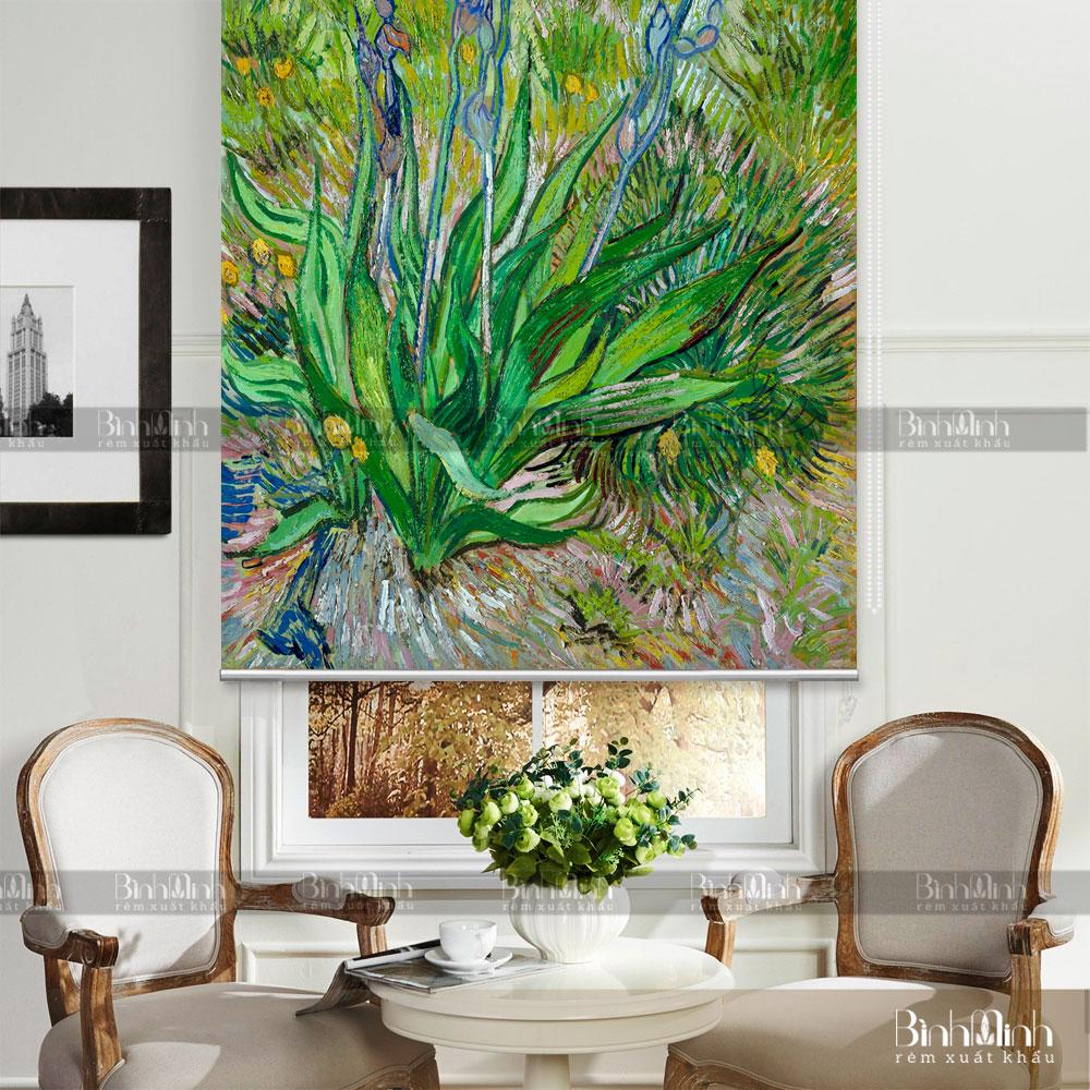 Rèm cuốn tranh cho phòng khách đa sắc màu