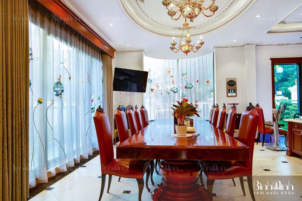Rèm phòng ăn đẹp biệt thự Vinhomes Long Biên