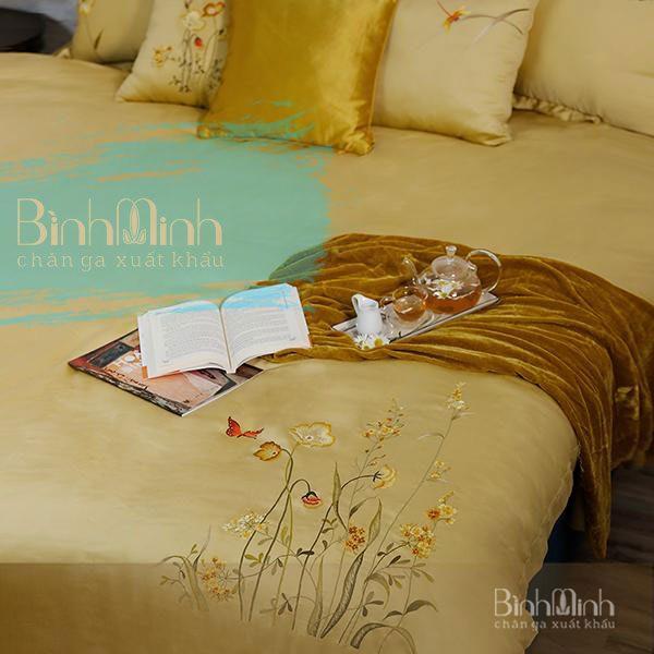 Một số mẫu chăn ga giường màu vàng dành cho phòng ngủ hiện đại