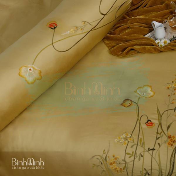 """Bộ chăn ga gối thêu Tencel lụa cao cấp: """"Hoa anh thảo"""""""