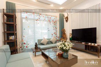 Rèm phòng khách thêu vườn hồng