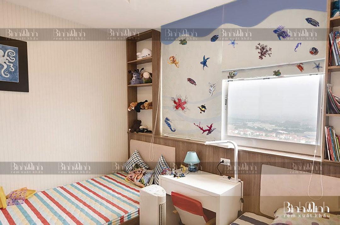 Rèm phòng ngủ cho trẻ với họa tiết hình con vật bắt mắt