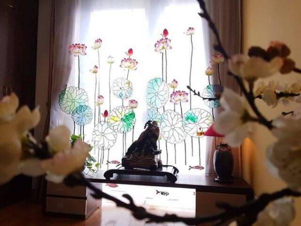 Rèm phòng thờ Phật thêu Sen tinh tế