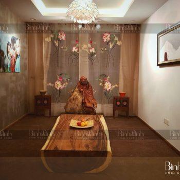 Mẫu rèm phòng thờ Phật đối xứng