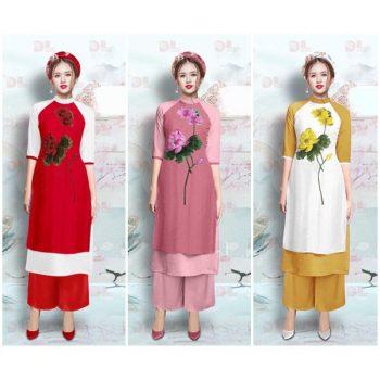 Lựa chọn chất liệu áo dài thêu hoa sen