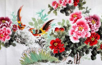 Tranh thêu hoa mẫu đơn - Nữ hoàng của các loài hoa