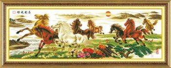 Tranh thêu ngựa: Bát mã truy phong