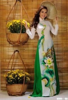 Vải áo dài hoa sen chất liệu Chiffon