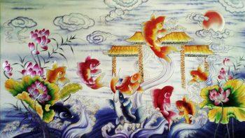 Tranh cá chép hóa rồng mang ý nghĩa may mắn và nỗ lực