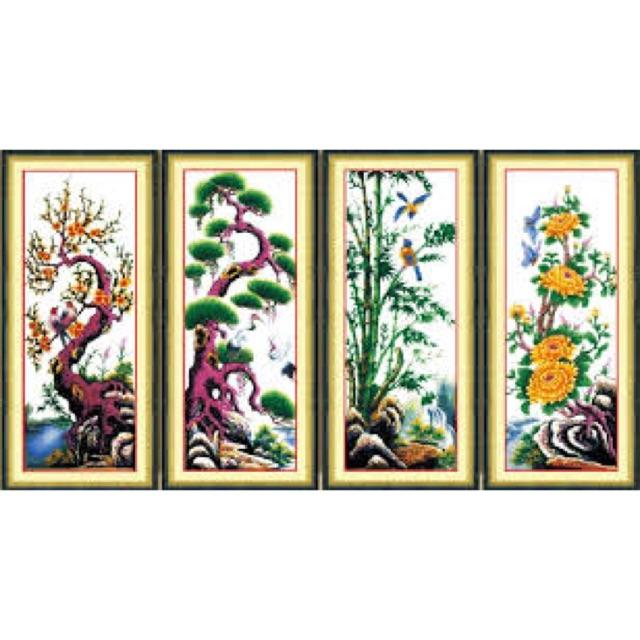 Giá trị nghệ thuật của tranh thêu Tùng Cúc Trúc Mai