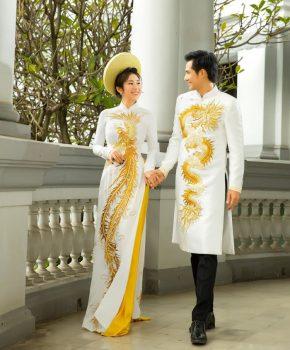 Thiết kế áo dài nam thêu rồng mạnh mẽ