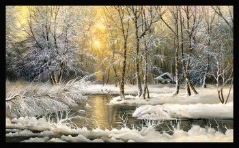 Tranh mùa đông bên khu rừng phong cảnh sớm mai