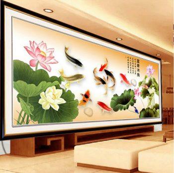 Lựa chọn vị trí tranh thêu cá chép hoa sen