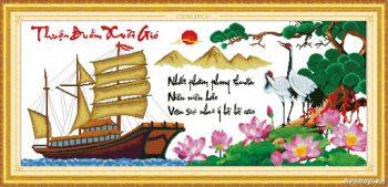 Cách treo Tranh Thêu Thuận Buồm Xuôi Gió