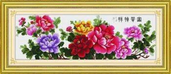 Nét đẹp ý nghĩa của tranh thêu hoa mẫu đơn