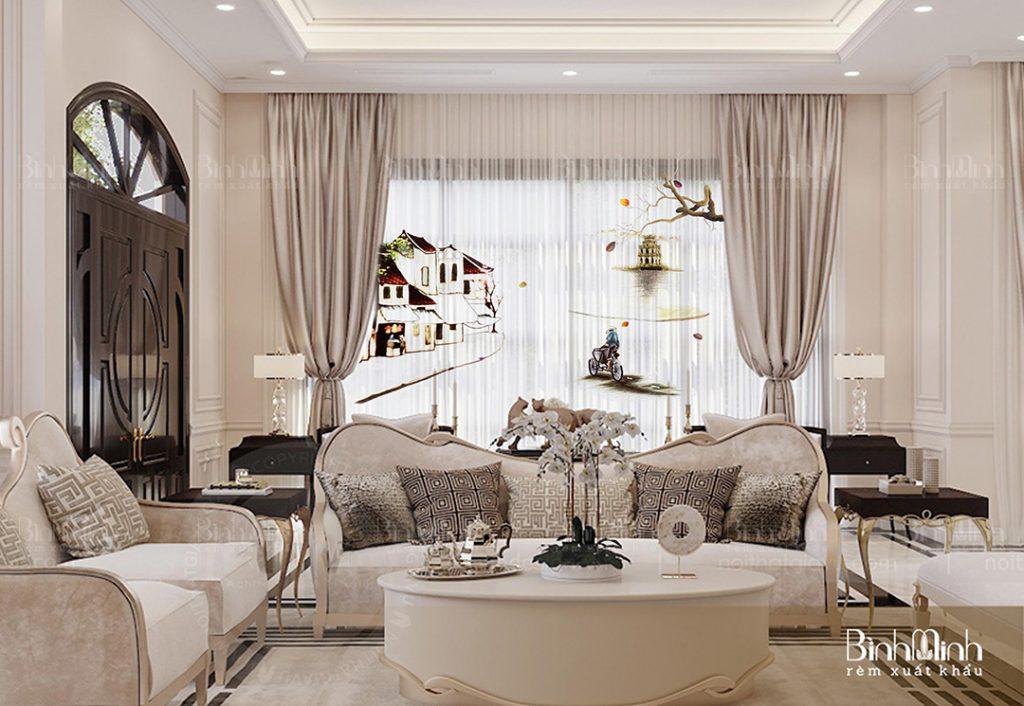 Rèm vải 2 lớp thêu voan độc đáo cho phòng khách chung cư