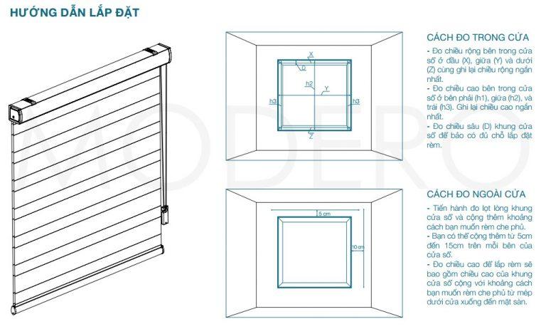 Hướng dẫn cách đo đạc khi lắp rèm cửa sổ cầu vồng