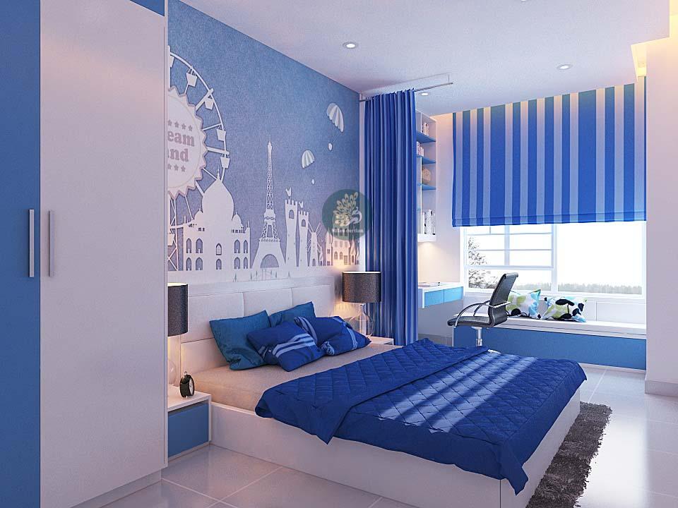 Chọn rèm màu xanh cho phòng ngủ