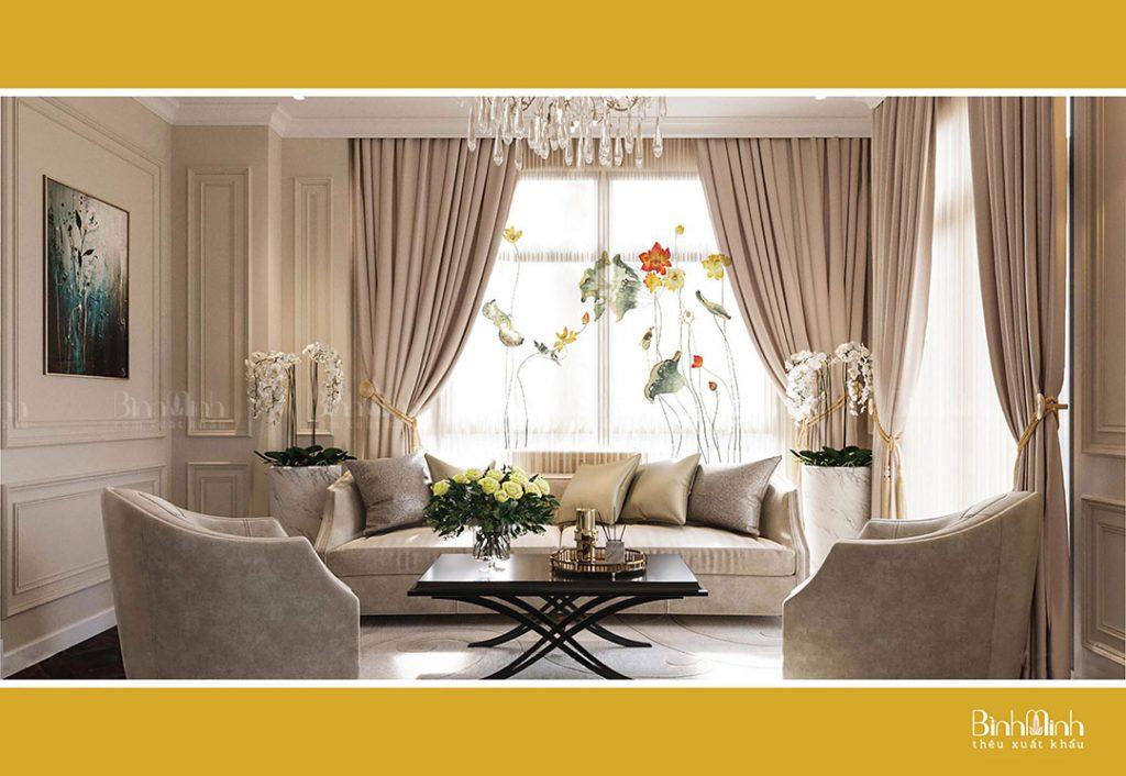 Bật bí cách lựa chọn rèm phòng khách tân cổ điển sang trọng