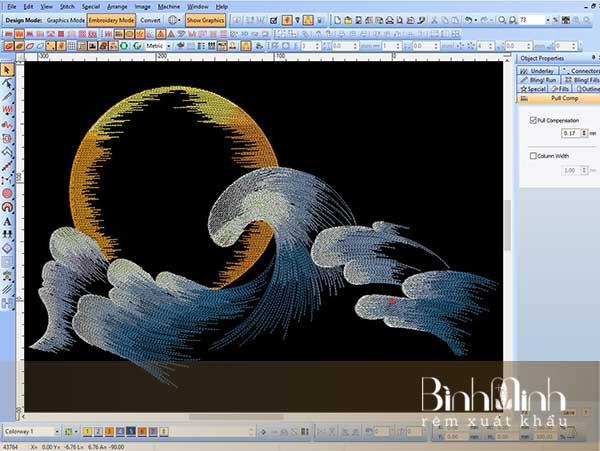 Thêu vi tính họa tiết sóng biển
